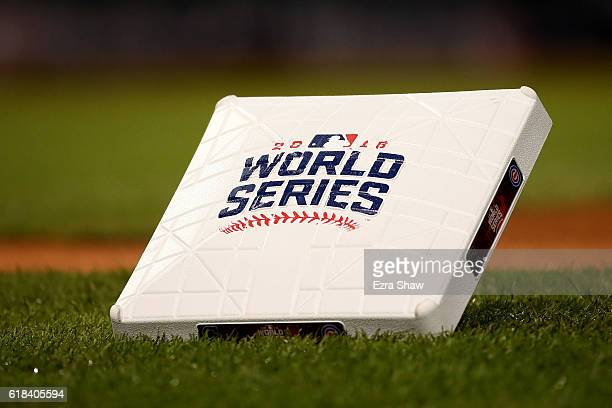 A detailed view of a base prior to Game Two of the 2016 World Series between the Chicago Cubs and the Cleveland Indians at Progressive Field on...