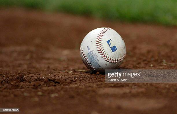 A detailed view of a baseball during the game between the Pittsburgh Pirates and the Atlanta Braves on October 1 2012 at PNC Park in Pittsburgh...