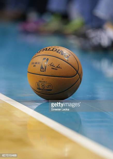 A detailed view of a basketball during the game between the Detroit Pistons and Charlotte Hornets at Spectrum Center on November 29 2016 in Charlotte...