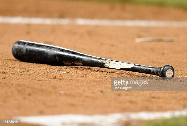 A detailed view of a broken bat during the game between the Pittsburgh Pirates and the Cincinnati Reds on June 17 2014 at PNC Park in Pittsburgh...