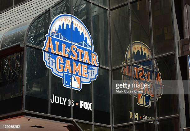 A detailed view of a building decorated with All Star Game logos during the 2013 MLB AllStar Game Red Carpet Show Presented by Chevrolet on July 16...