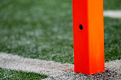 A detailed view of a camera imbedded in a scoring pylon during the first half of the game between the Atlanta Falcons and the Philadelphia Eagles at...