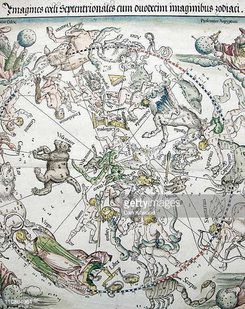 A detailed view of a celestial Map of the Northern Sky by Albrecht Durer at Sotheby's Auction House on March 25 2011 in London England The two...
