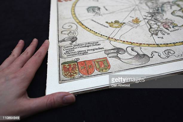 A detailed view of a celestial Map of the Southern Sky by Albrecht Durer at Sotheby's Auction House on March 25 2011 in London England The two...