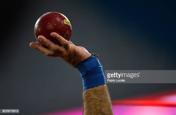 A detailed view of a competitors shot during the final of the mens shot put F42 on day nine of the IPC World ParaAthletics Championships 2017 at...