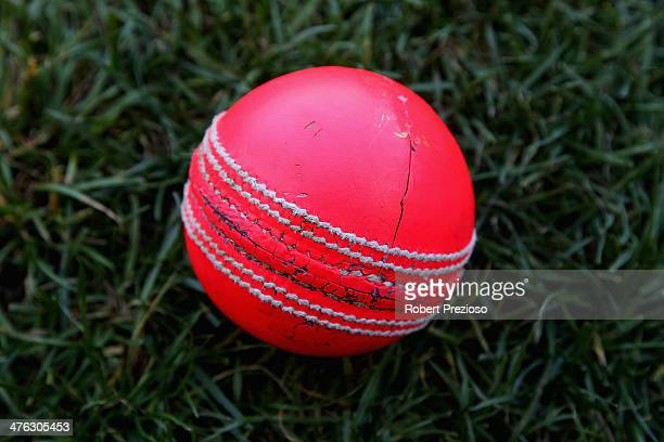 A detailed view of a cricket ball during day one of the Sheffield Shield match between Victoria and Tasmania at Melbourne Cricket Ground on March 3...