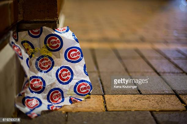 A detailed view of a Cubs hotdog wrapper during Game Three of the 2016 World Series between the Chicago Cubs and the Cleveland Indians at Wrigley...