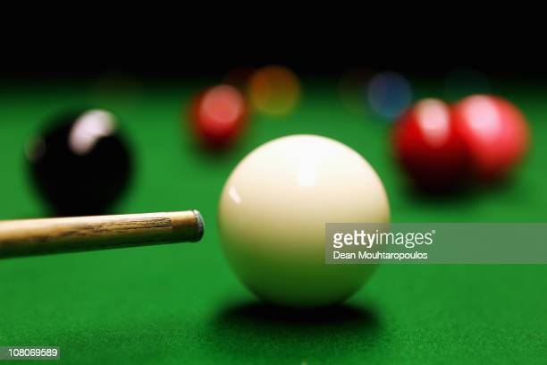 A detailed view of a cue and snooker balls shot in the practice room during The Ladbrokesmobile Masters on Day 7 at Wembley Arena on January 15 2011...