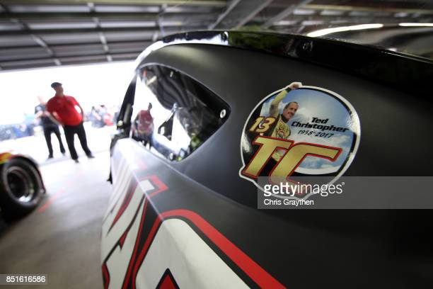 A detailed view of a decal commemorating Ted Christopher a former NASCAR Whelen Modified Tour driver who was killed in a plane crash on the Haas...