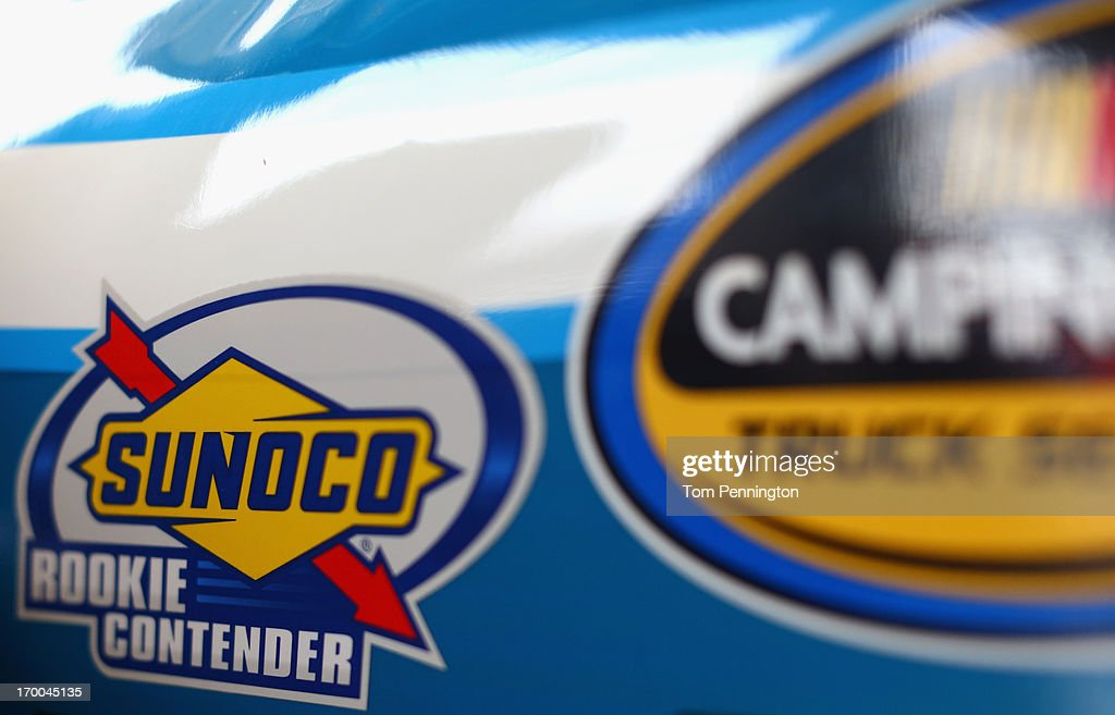 A detailed view of a decal that reads, 'Sunoco Rookie Contender' on a Truck in the garage during practice for NASCAR Camping World Truck Series WinStar World Casino 400 at Texas Motor Speedway on June 6, 2013 in Fort Worth, Texas.