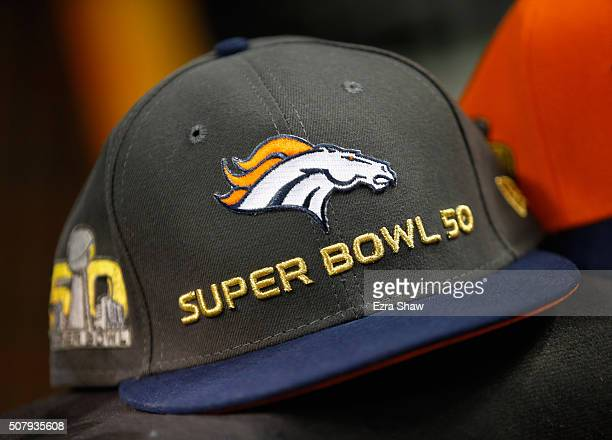 A detailed view of a Denver Broncos Super Bowl 50 hat at Super Bowl Opening Night Fueled by Gatorade at SAP Center on February 1 2016 in San Jose...
