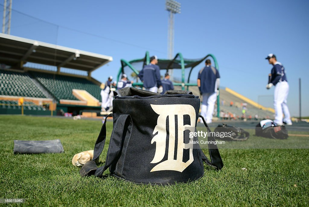 A detailed view of a Detroit Tigers equipment bag sitting on the field prior to the spring training game against the New York Mets at Joker Marchant Stadium on March 8, 2013 in Lakeland, Florida. The Tigers defeated the Mets 3-2.