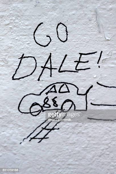 A detailed view of a fan sign drawn on the startfinish line in support of Dale Earnhardt Jr driver of the Axalta Chevrolet is seen prior to the...