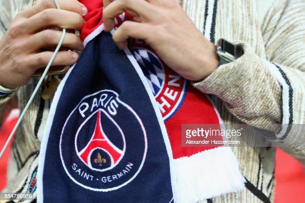 A detailed view of a fan's scarf prior to the UEFA Champions League group B match between Paris SaintGermain and Bayern Muenchen at Parc des Princes...