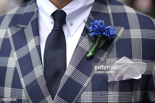 A detailed view of a Fashions on the Field entrant in the Fashion on the Field enclosure on Victoria Derby Day at Flemington Racecourse on November 1...