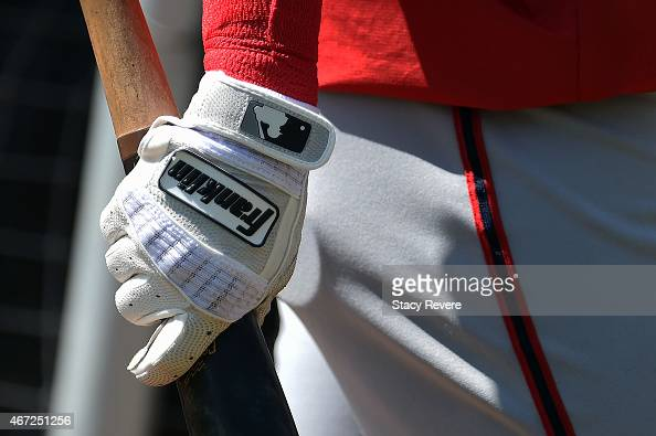 Detailed view of a Franklin batting glove worn by a member of the Washington Nationals prior to a spring training game against the Atlanta Braves at...
