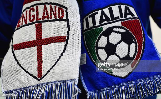 A detailed view of a friendship scarf is seen prior to the international friendly match between Italy and England at the Juventus Arena on March 31...