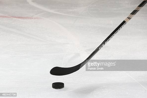 A detailed view of a hockey stick during an NHL game at Wells Fargo Center on October 12 2015 in Philadelphia Pennsylvania