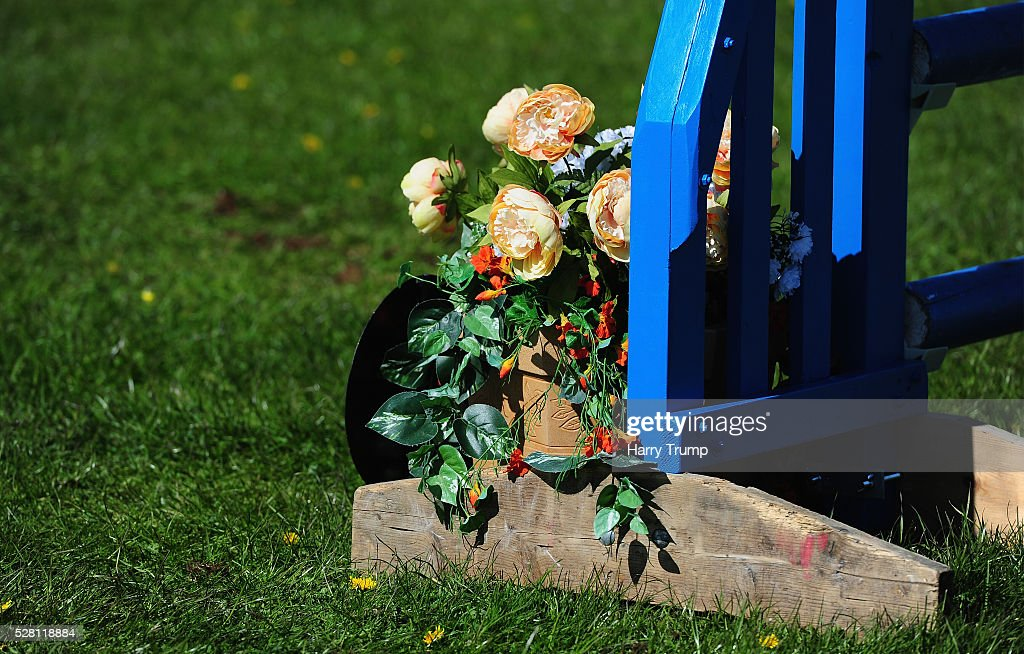Detailed view of a jump decorated with flowers during Day One of the Badminton Horse Trials in Badminton, Untied Kindom.