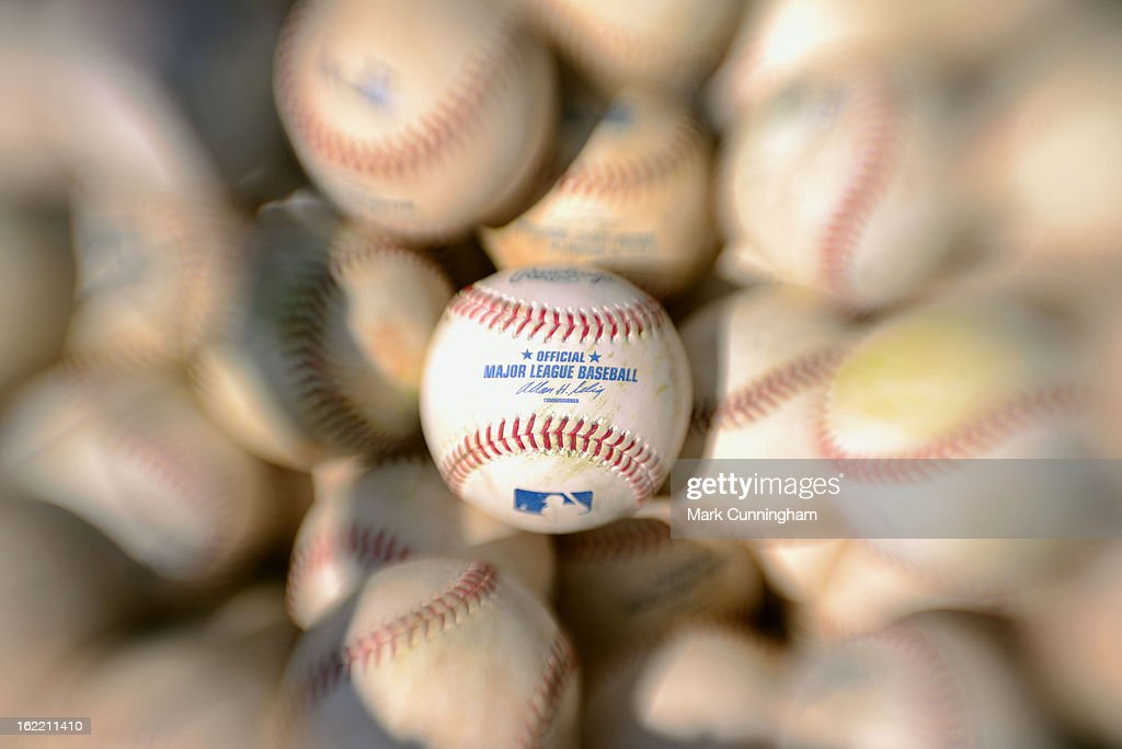 A detailed view of a Major League baseball during the Detroit Tigers Spring Training workouts at the TigerTown Facility on February 20, 2013 in Lakeland, Florida.