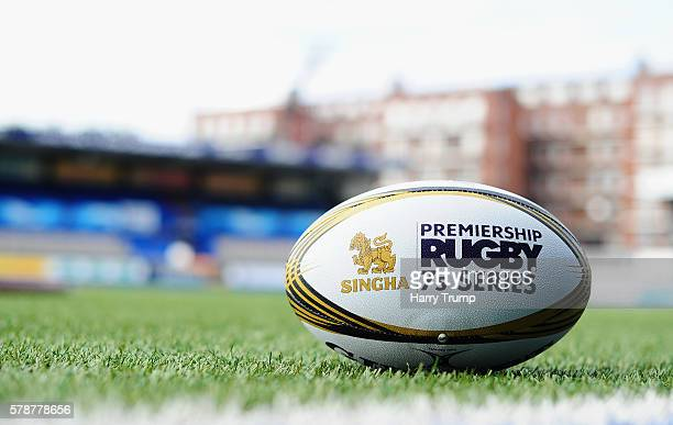 Detailed view of a match ball during the Singha Premiership Rugby 7s Series at Cardiff Arms Park on July 22 2016 in Cardiff Wales