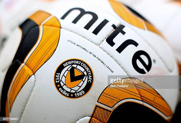Detailed view of a match ball prior to the Sky Bet League Two match between Newport County AFC and Chesterfield at Rodney Parade on December 01 2013...