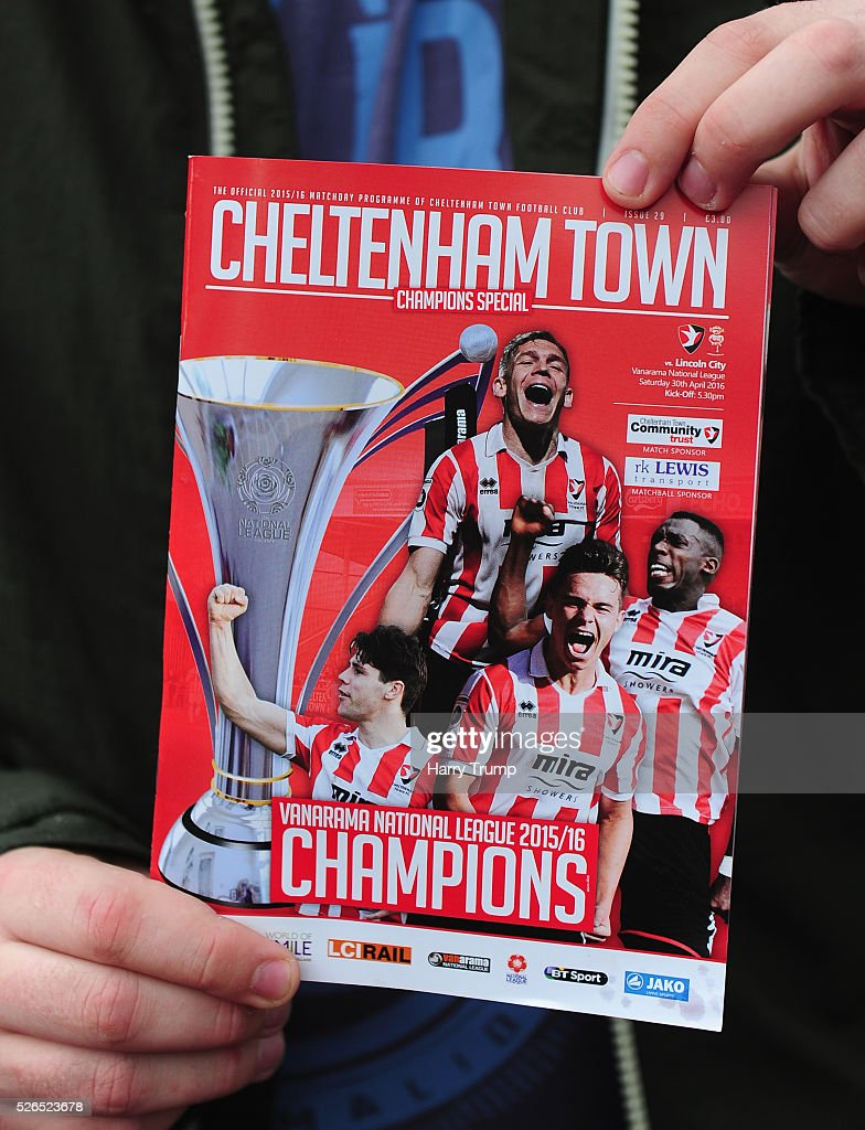 Detailed view of a match day programme during the Vanarama Football Conference match between Cheltenham Town and Lincoln City at the World of Smile Stadium on April 30, 2016 in Cheltenham, England.