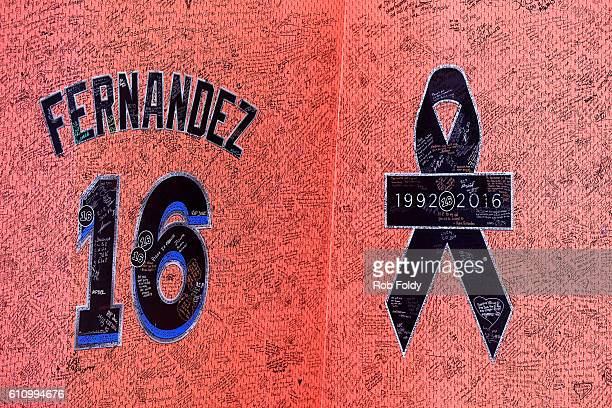 A detailed view of a memorial wall in honor of Jose Fernandez on September 28 2016 in Miami Florida Mr Fernandez was killed in a weekend boat crash...