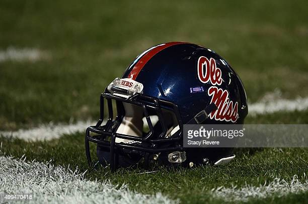 A detailed view of a Mississippi Rebels helmet on the field at Davis Wade Stadium on November 28 2015 in Starkville Mississippi Mississippi defeated...