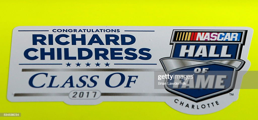A detailed view of a NASCAR Hall of Fame decal honoring <a gi-track='captionPersonalityLinkClicked' href=/galleries/search?phrase=Richard+Childress&family=editorial&specificpeople=604335 ng-click='$event.stopPropagation()'>Richard Childress</a> on his 2016 induction as it is displayed on the #33 Barrett-Jackson/Menards Chevrolet during practice for the NASCAR XFINITY Series Hisense 4K TV 300 at Charlotte Motor Speedway on May 27, 2016 in Charlotte, North Carolina.
