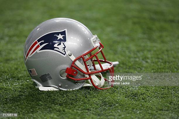 A detailed view of a New England Patriots helmet prior to the NFL preseason game between the New England Patriots and the Atlanta Falcons on August...