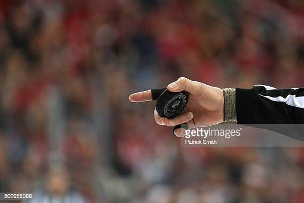 A detailed view of a NHL hockey puck as the Washington Capitals play the Buffalo Sabres at Verizon Center on December 30 2015 in Washington DC The...