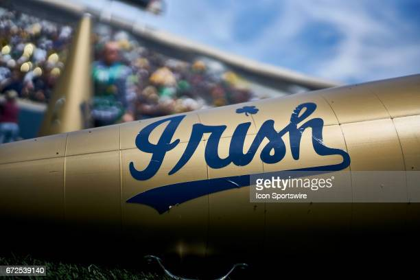 A detailed view of a Notre Dame Fighting Irish cheerleader Megaphone is seen on the field during the Notre Dame Fighting Irish BlueGold Spring Game...