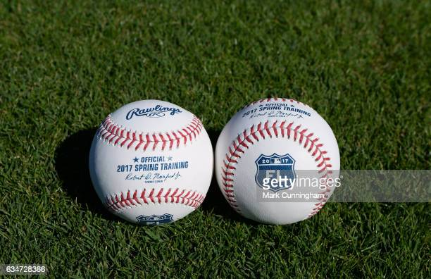 A detailed view of a pair of official Rawlings 2017 Florida Grapefruit League Spring Training baseballs sitting on the field at Publix Field at Joker...