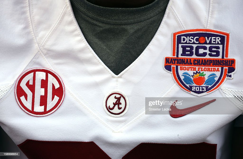 A detailed view of a players jersey during Media Day ahead of the Discover BCS National Championship at Sun Life Stadium on January 5, 2013 in Miami Gardens, Florida.