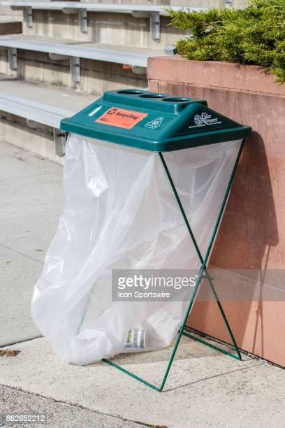 A detailed view of a recycling container before a game between the Ohio Bobcats and the Bowling Green Falcons on October 14th 2017 at Doyt Perry...
