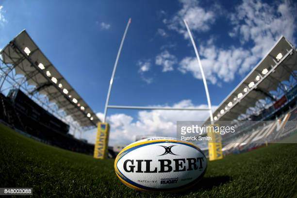 A detailed view of a rugby ball before a Aviva Premiership match between the Newcastle Falcons and the Saracens at Talen Energy Stadium on September...