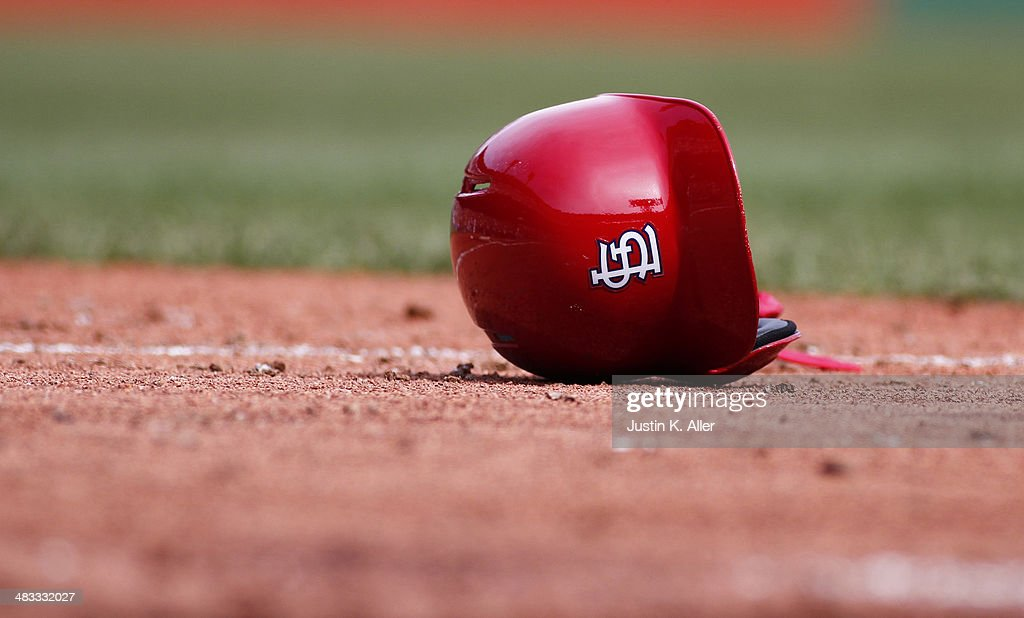 A detailed view of a St. Louis Cardinals helmet during the game against the Pittsburgh Pirates at PNC Park April 6, 2014 in Pittsburgh, Pennsylvania.