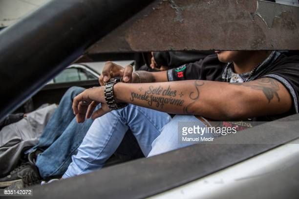Detailed view of a tatoo from a drug dealer taken under arrest which reads 'Only God can judge me' on May 19 2017 in Lima Peru On August 18 2003 the...