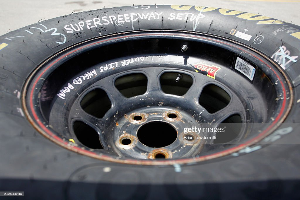 A detailed view of a tire in the garage area during practice for the NASCAR XFINITY Series Subway Firecracker 250 at Daytona International Speedway on June 30, 2016 in Daytona Beach, Florida.