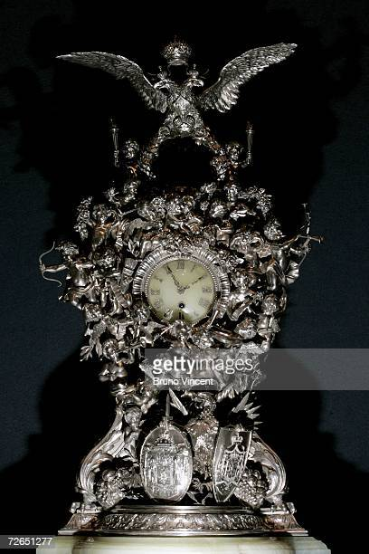 A detailed view of a unique silver clock by Faberge displayed at Christie's auction house on November 27 2006 in London The piece was originally...