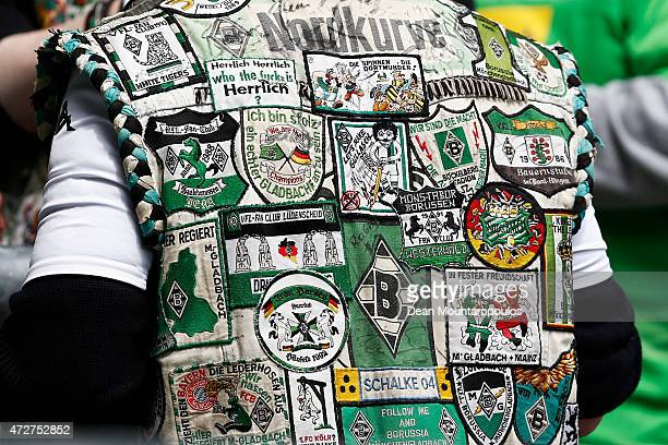 A detailed view of a vest worn by a Borussia Moenchengladbach fan prior to the Bundesliga match between Borussia Moenchengladbach and Bayer 04...
