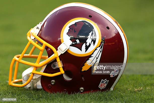 A detailed view of a Washington Redskins helmet before the Washington Redskins play the Jacksonville Jaguars at FedExField on September 3 2015 in...