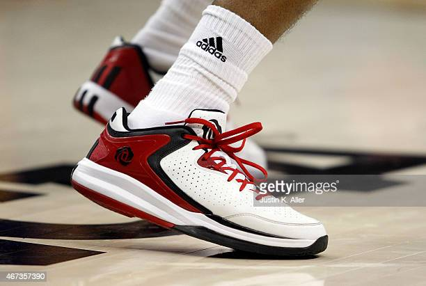 A detailed view of Adidas shoes during play between the LSU Tigers and the North Carolina State Wolfpack during the second round of the 2015 NCAA...