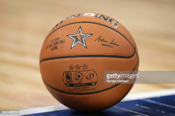 A detailed view of an AllStar official game ball during the 2017 BBVA Compass Rising Stars Challenge at Smoothie King Center on February 17 2017 in...