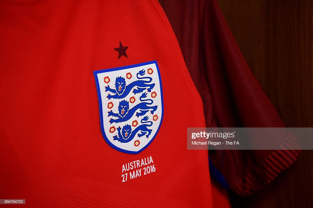 Detailed view of an England match shirt ahead of the International Friendly match between England and Australia at Stadium of Light on May 27, 2016 in Sunderland, England.