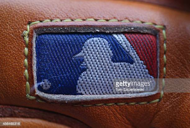 A detailed view of an MLB logo stitched into a glove before the Chicago Cubs MLB game against the Toronto Blue Jays on September 8 2014 at Rogers...