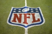 A detailed view of an NFL shield logo painted on the field before the game between the Indianapolis Colts and the Detroit Lions at Ford Field on...