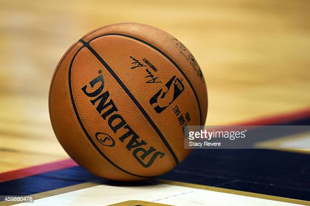 Detailed view of an official game ball during a game between the New Orleans Pelicans and the Oklahoma City Thunder at the Smoothie King Center on...