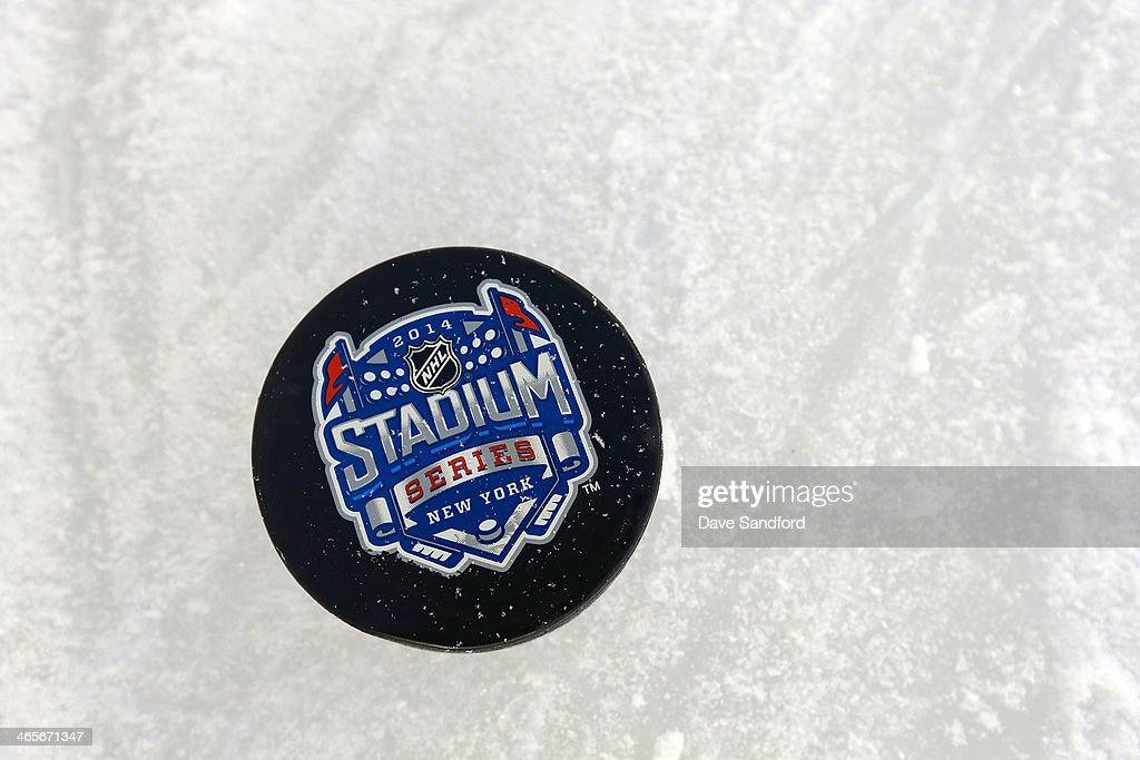 A detailed view of an official puck during the 2014 NHL Stadium Series practice session at Yankee Stadium on January 28 2014 in the Bronx borough of...